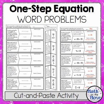 Solving Equations Word Problems Worksheet Fresh E Step Equation Word Problems Cut and Paste Activity