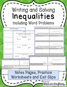 Solving Equations Word Problems Worksheet Lovely Inequalities Notes and Practice Includes Word Problems