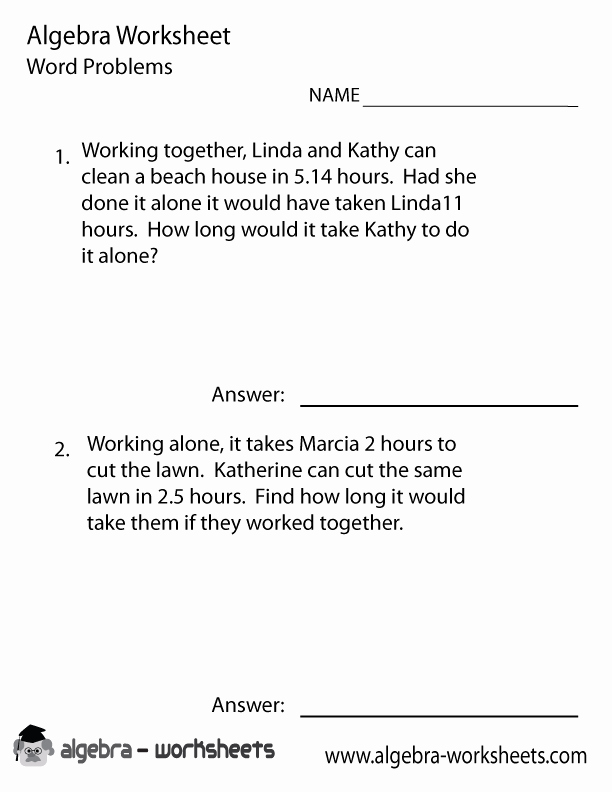 Solving Equations Word Problems Worksheet Luxury solve Algebra Word Problems Worksheet Printable