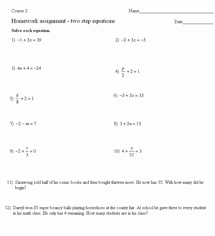 Solving Equations Word Problems Worksheet New solving Two Step Equations Worksheet