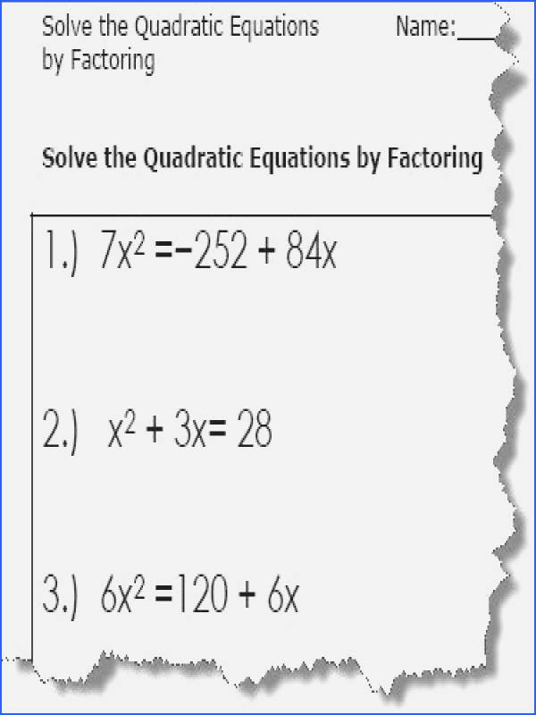 Solving Equations Worksheet Pdf Beautiful solving Quadratics by Factoring Worksheet