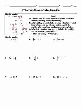 Holt Algebra 27 Solving Absolute Value Equations Worksheet DOC PDF