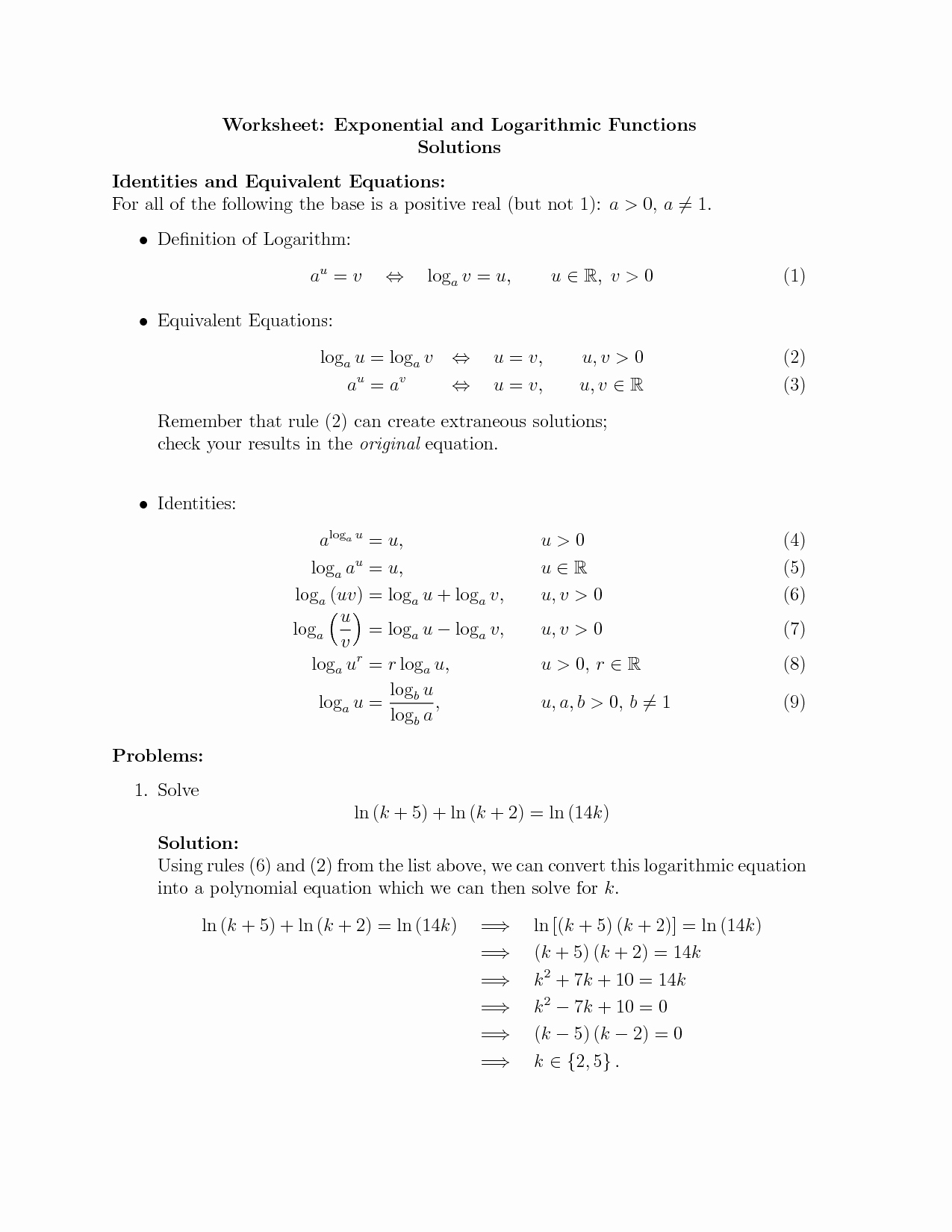 Solving Exponential Equations Worksheet Inspirational solve Logarithmic Equations Kuta Tessshebaylo
