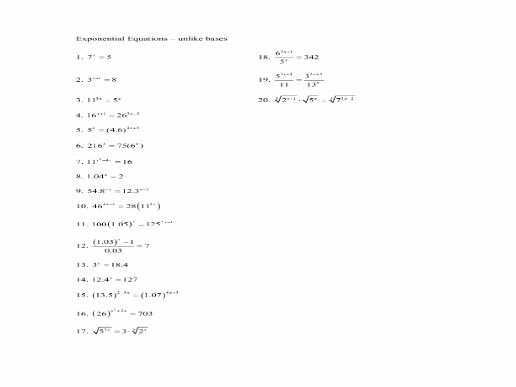 Solving Exponential Equations Worksheet Luxury solving Exponential Equations Worksheet Doc Tessshebaylo