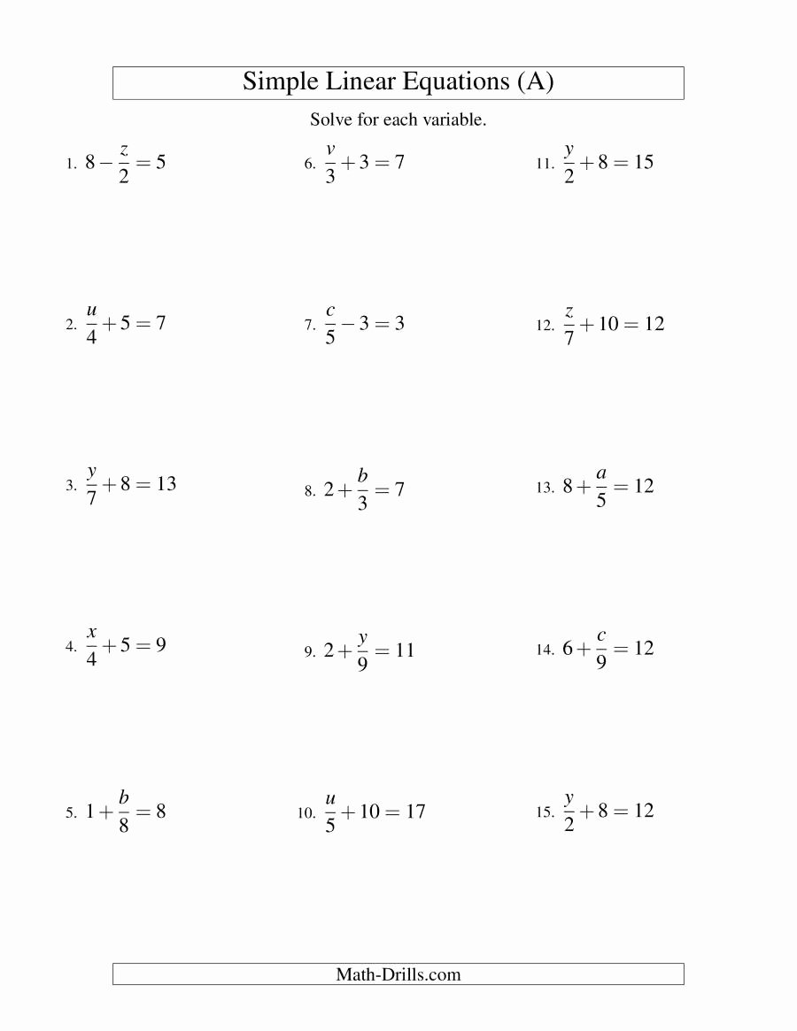 Solving for Y Worksheet Awesome solving Linear Equations form X A ± B = C A
