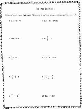 Solving for Y Worksheet Elegant solving Two Step Equations Worksheet