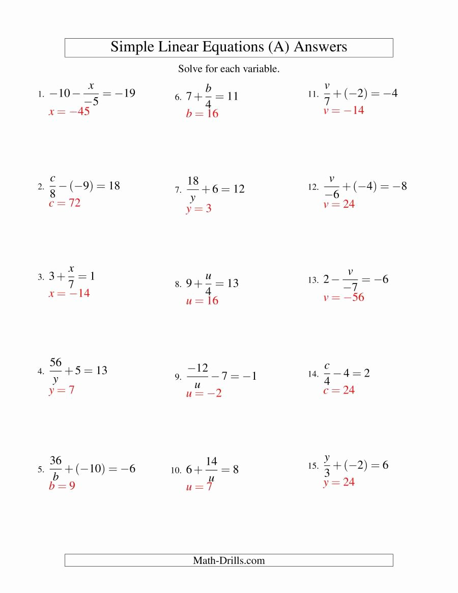 Solving for Y Worksheet Luxury solving Linear Equations Incuding Negative Values