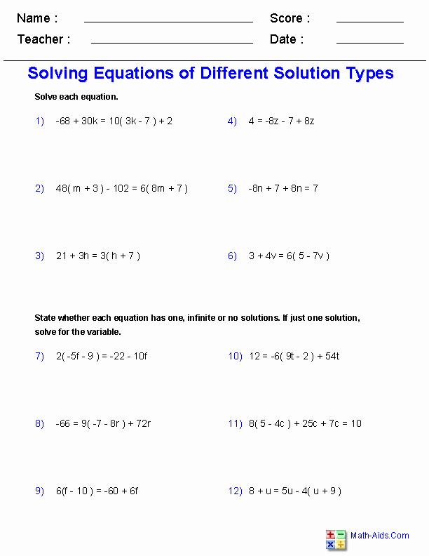 Solving for Y Worksheet New Algebra 1 Worksheets