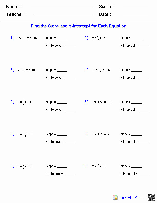 Solving for Y Worksheet New Finding Slope and Y Intercept From A Linear Equation
