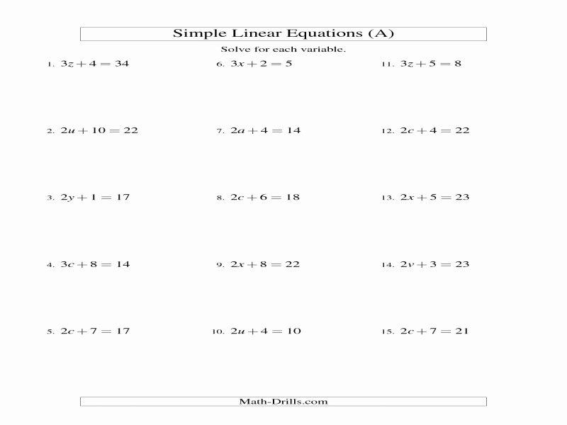 solve for y worksheet