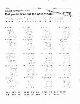 Solving Inequalities Worksheet Answer Key Beautiful solving Two Step Equations 2 Joke Worksheet with Answer