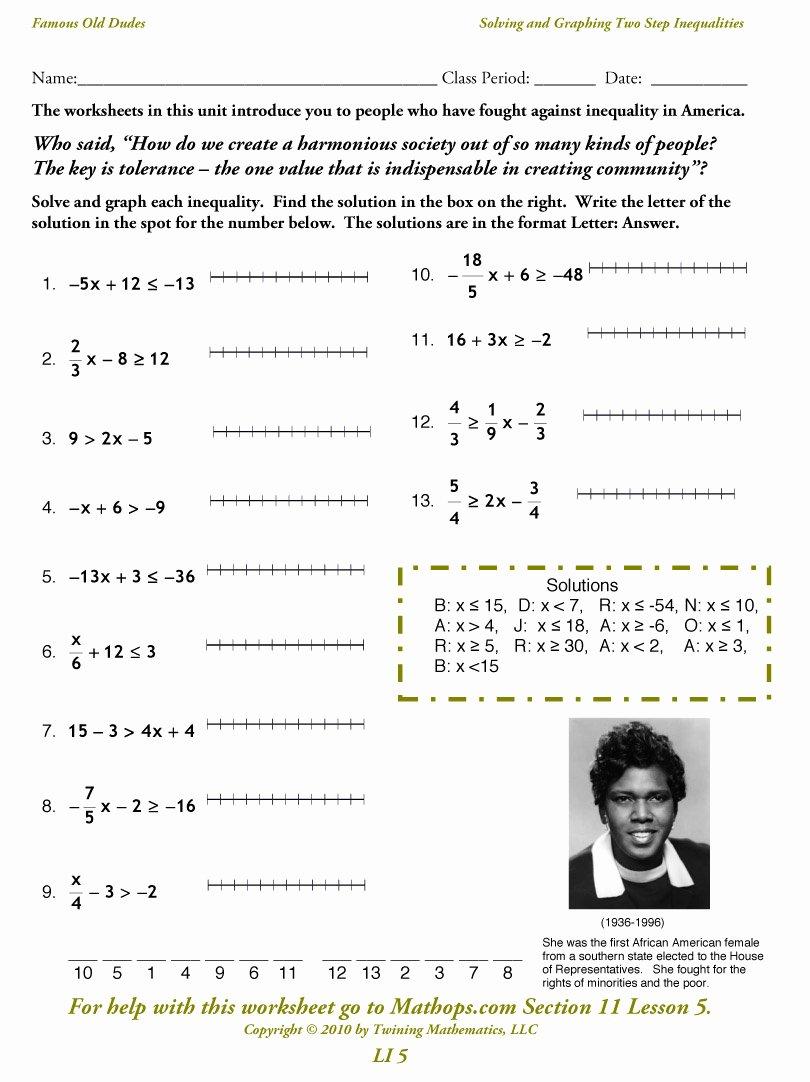 Solving Inequalities Worksheet Answer Key Elegant Li 5 solving and Graphing Two Step Inequalities Mathops