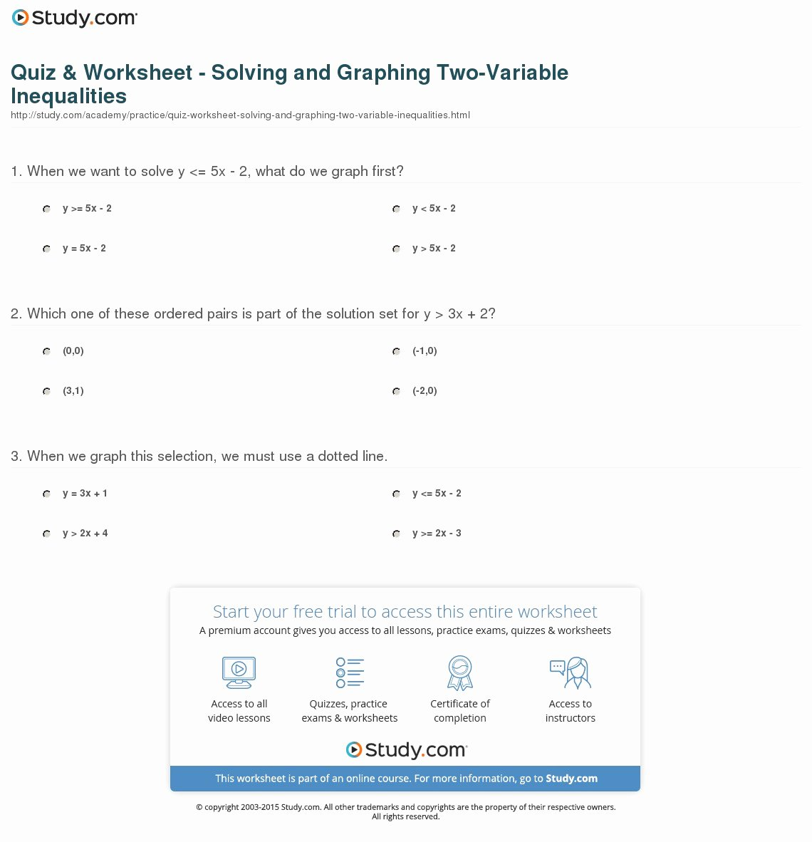 Solving Inequalities Worksheet Answer Key Luxury Quiz & Worksheet solving and Graphing Two Variable