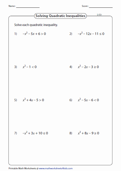 Solving Inequalities Worksheet Pdf Lovely Quadratic Inequalities Worksheets