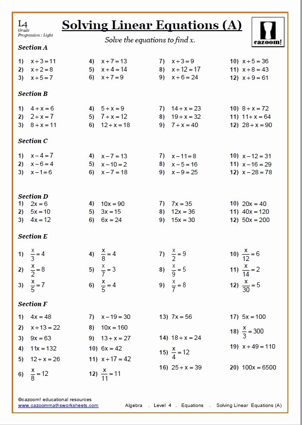 Solving Linear Equations Worksheet Pdf Elegant solving Equations Worksheets