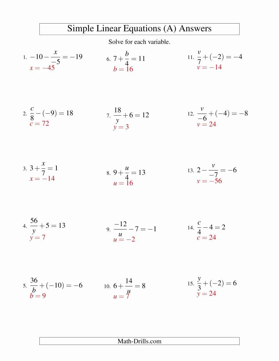Solving Linear Equations Worksheet Pdf Elegant solving Linear Equations Incuding Negative Values