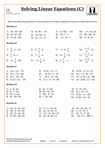 Solving Linear Equations Worksheet Pdf Inspirational solving Linear Equations by Cazoommaths Teaching