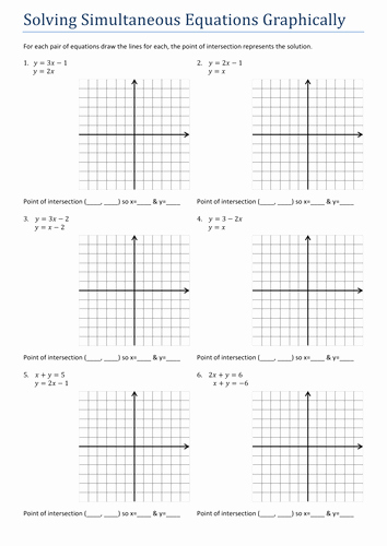 Solving Linear Equations Worksheet Pdf Lovely Gcsesimultaneous Equations Graphically Worksheet by