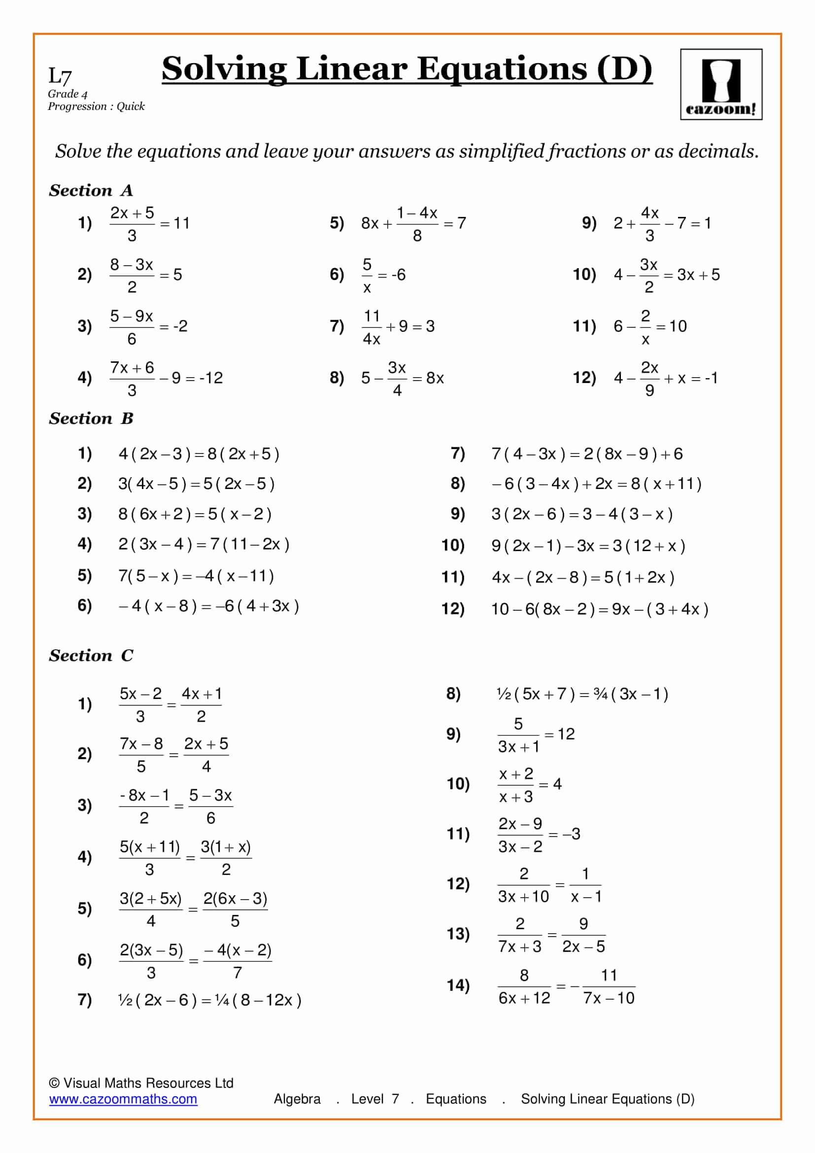 Solving Linear Equations Worksheet Pdf Lovely Maths Worksheets