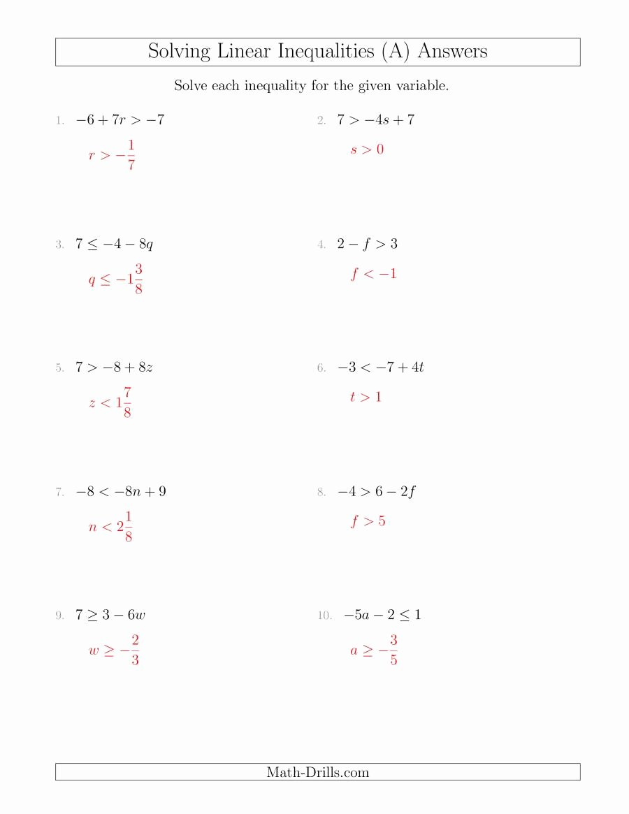 Solving Linear Equations Worksheet Pdf New solving Linear Inequalities Including A Third Term and