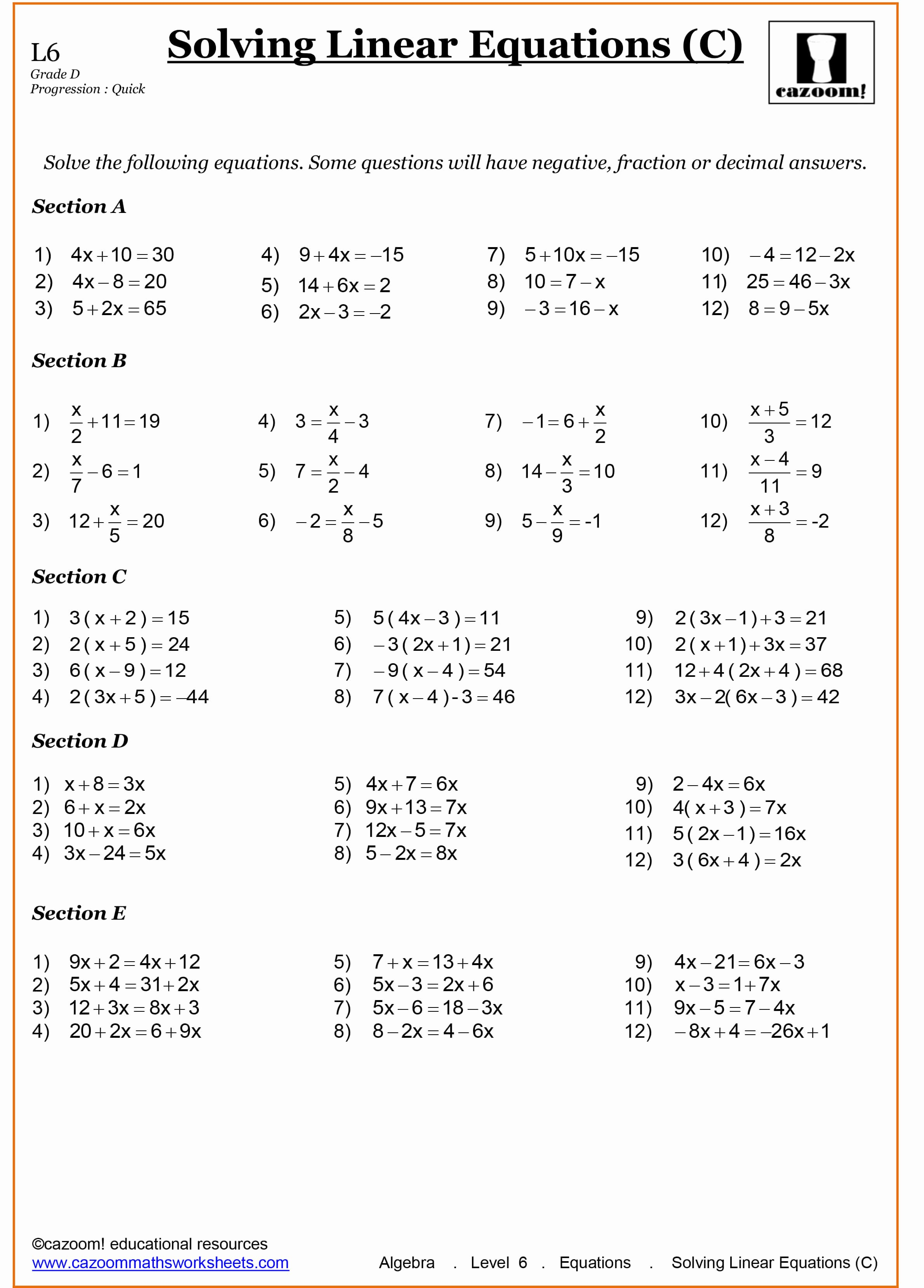 Solving Linear Equations Worksheet Pdf Unique Year 8 Maths Worksheets