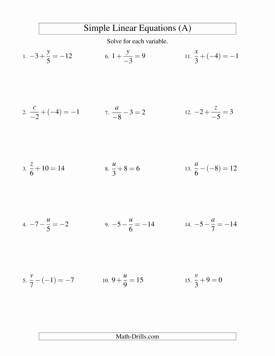 Solving Linear Inequalities Worksheet Inspirational solving Linear Equations Including Negative Values