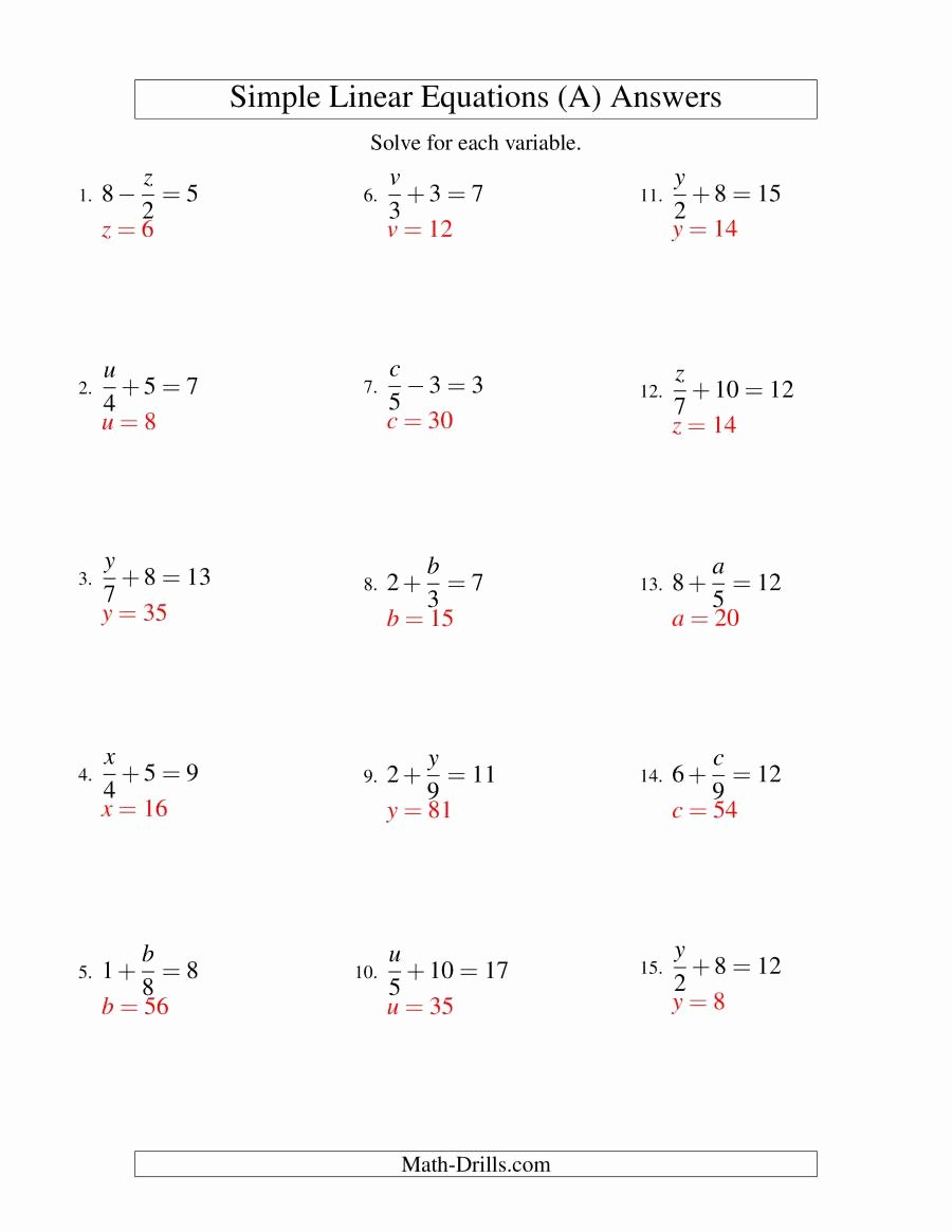 Solving Linear Inequalities Worksheet Unique solving Linear Equations form X A ± B = C A