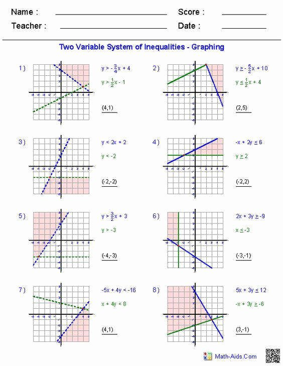 Solving Linear Inequalities Worksheet Unique solving Systems Inequalities Worksheet