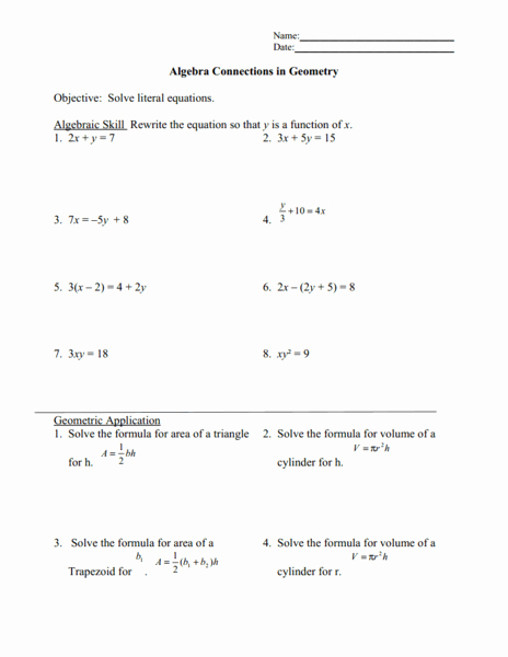 Solving Literal Equations Worksheet Beautiful solving Literal Equations Worksheet for 9th 12th Grade
