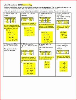 Solving Literal Equations Worksheet Elegant Literal Equations solving Literal Equations with Answer