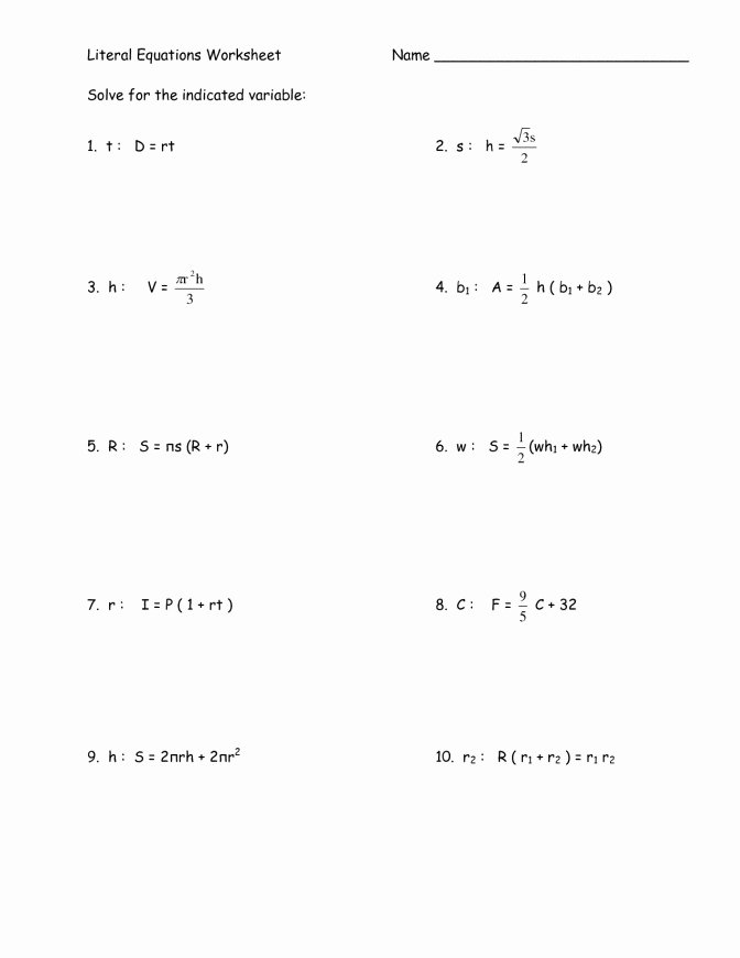Solving Literal Equations Worksheet Elegant Literal Equations Worksheet