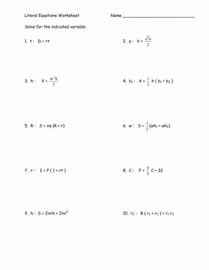 Solving Literal Equations Worksheet Elegant Literal Equations Worksheet