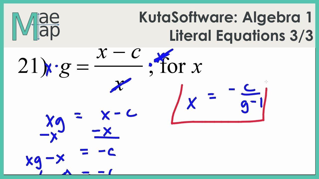 Solving Literal Equations Worksheet Lovely solving Literal Equations Students are Given Three Got It