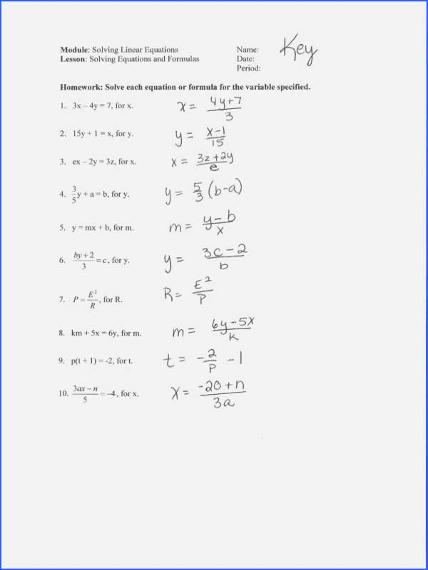Solving Literal Equations Worksheet Unique solving Literal Equations Worksheet