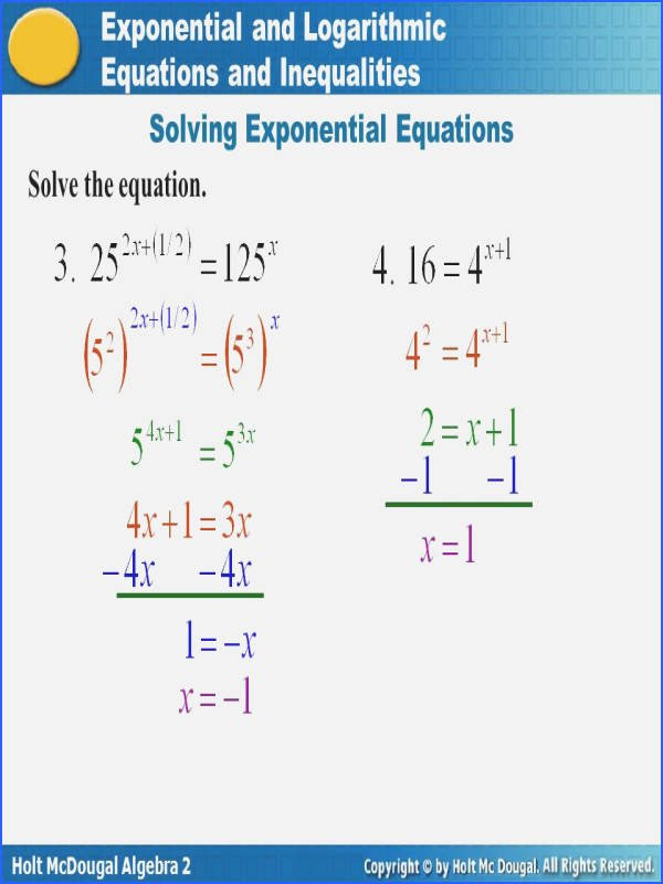 Solving Logarithmic Equations Worksheet Awesome solving Exponential and Logarithmic Equations Worksheet