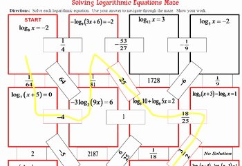 Solving Logarithmic Equations Worksheet Fresh Maze Logarithmic Functions solving Log Equations Many