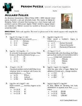 Solving Logarithmic Equations Worksheet Fresh Person Puzzle Logarithmic Equations Millard Fuller