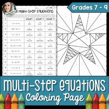 Solving Multi Step Inequalities Worksheet Elegant Multi Step Equations Coloring Worksheet by Lindsay Perro