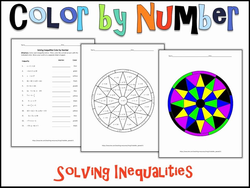 Solving Multi Step Inequalities Worksheet Inspirational solving Inequalities Color by Number by Charlotte James615