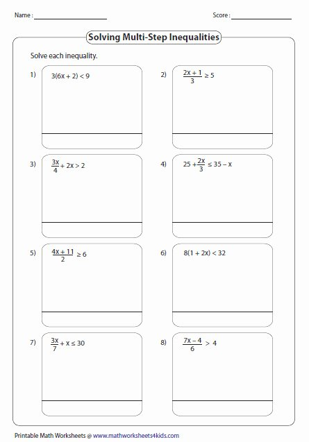 Solving Multi Step Inequalities Worksheet Inspirational solving Multi Step Inequalities Worksheet the Best