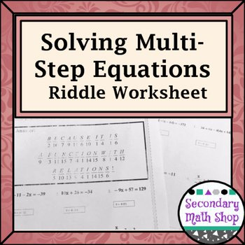 Solving Multi Step Inequalities Worksheet Inspirational solving Multistep Equations Practice Riddle Worksheet by