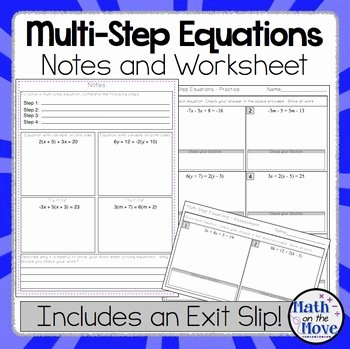 Solving Multi Step Inequalities Worksheet Lovely Multi Step Equations Interactive Notes Worksheet and