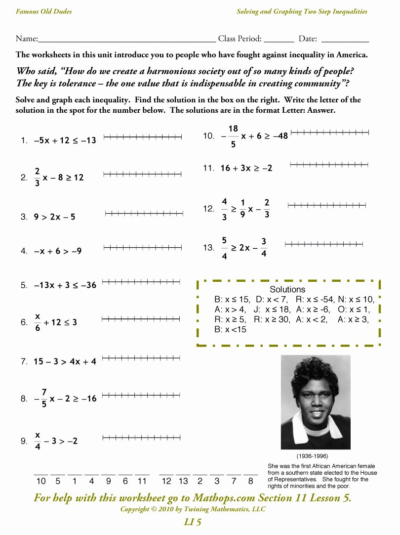 Solving Multi Step Inequalities Worksheet New Li 5 solving and Graphing Two Step Inequalities Mathops
