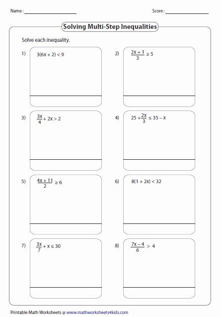 Solving Multi Step Inequalities Worksheet New Multi Step Inequalities Worksheets
