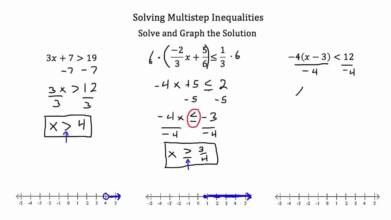 Solving Multi Step Inequalities Worksheet Unique Multiple Step Inequalities