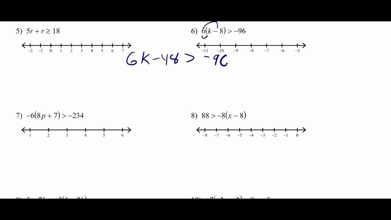 Solving Multi Step Inequalities Worksheet Unique solving Multi Step Inequalities with the Distributive
