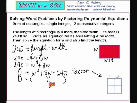 Solving Polynomial Equations Worksheet Answers Unique solving Word Problems by Factoring Polynomials area Of A