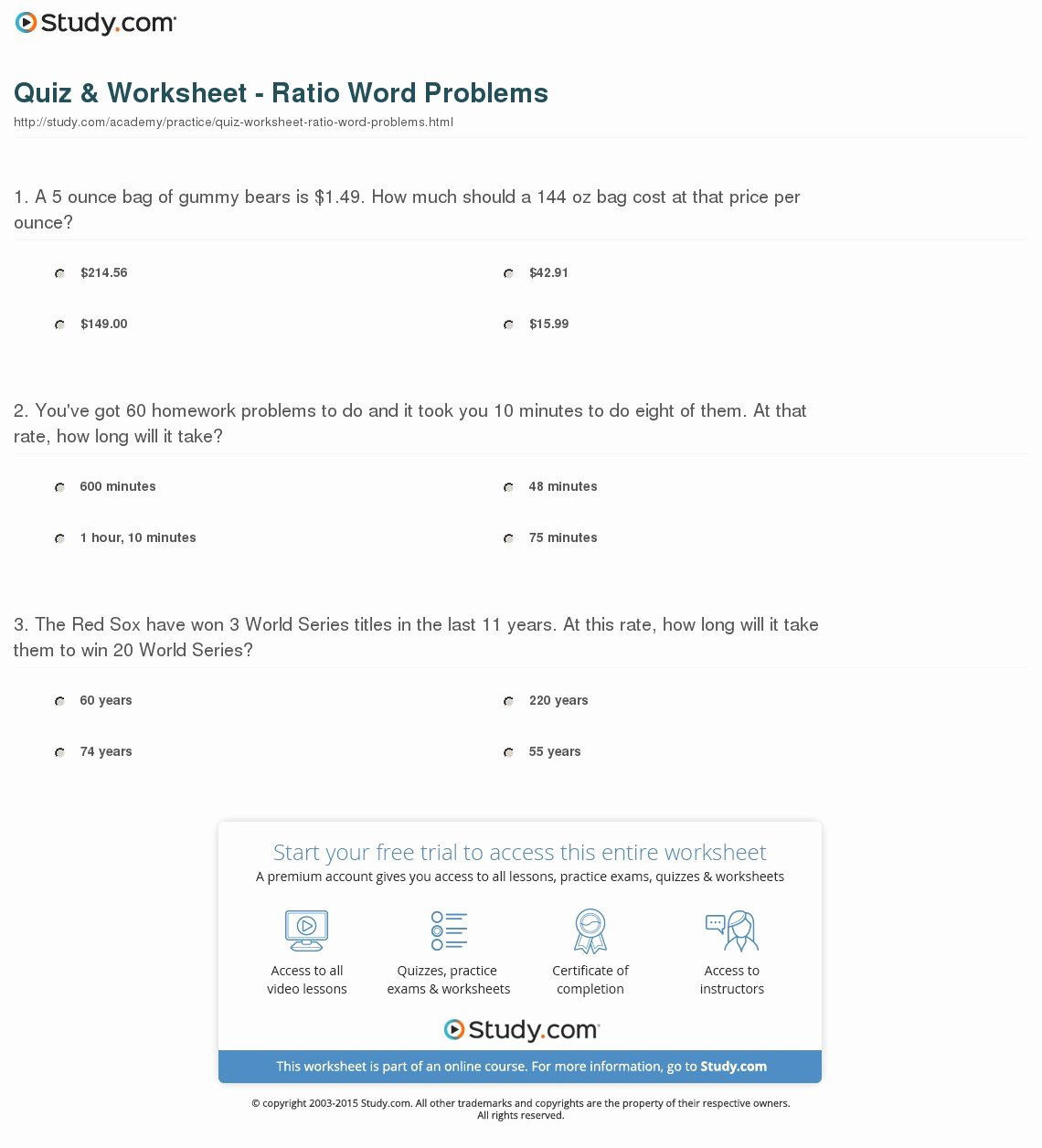 Solving Proportions Word Problems Worksheet Fresh Quiz & Worksheet Ratio Word Problems