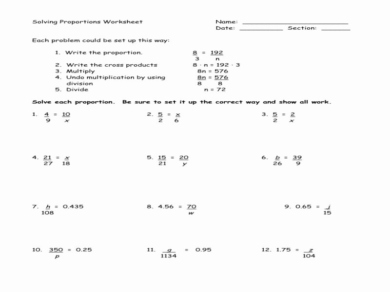 Solving Proportions Worksheet Answers Elegant solving Proportions Worksheet Answers Free Printable