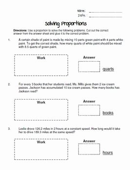 Solving Proportions Worksheet Answers Elegant Writing and solving Proportions Cut and Paste Worksheet